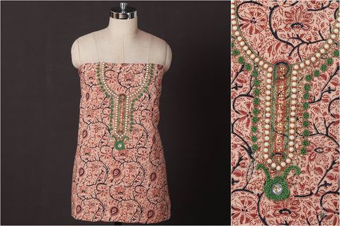 Hand Embroidered Bead Work Kalamkari Block Printed Cotton Kurta Material (2.5 meters)