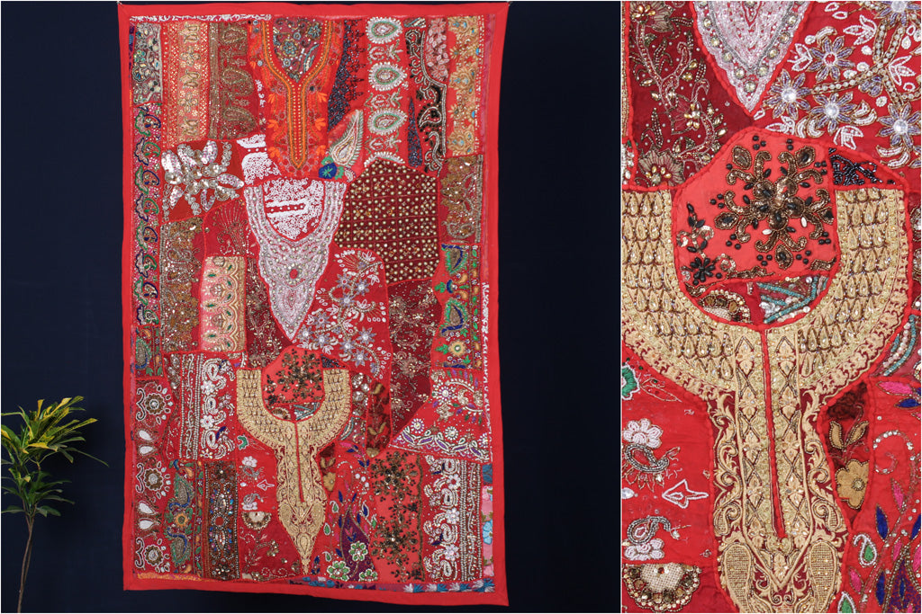 Banjara Moti Work Embroidery Tapestry Wall Hanging