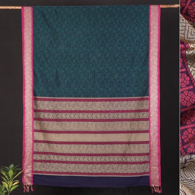 Traditional Handloom Kanchipuram Pure Cotton Saree from Tamil Nadu
