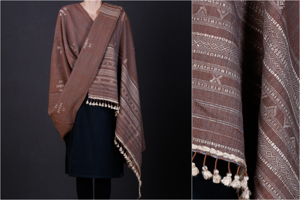 Kutchi Handwoven Traditional Silk x Wool Cheda Border Shawl