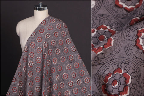 Bagru Dabu Hand Block Printed Pure Cotton Natural Dyed Fabric