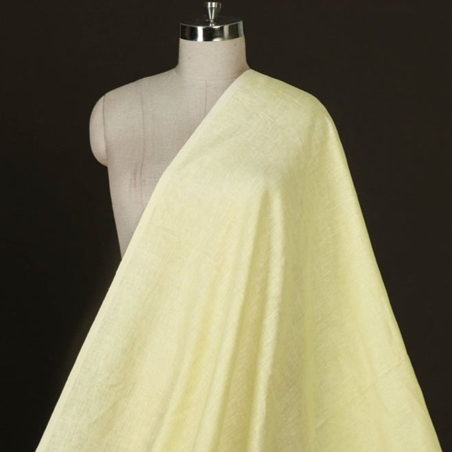 Mint Yellow - Handwoven Pure Linen Fabric from Bhagalpur