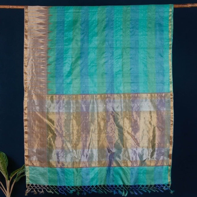 Pure Kosa Tussar Silk Pure Handloom Saree with Temple Woven Border