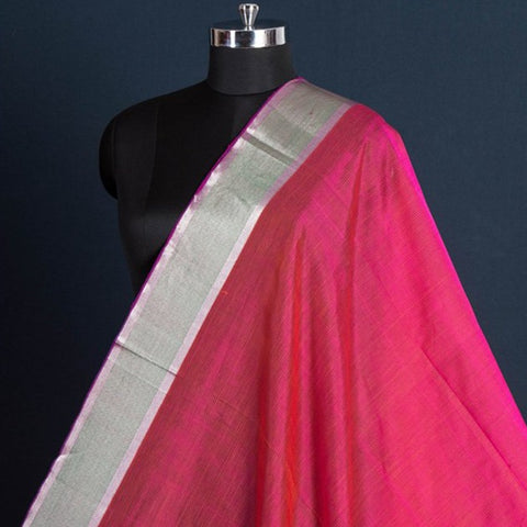 Original Mangalgiri Handloom Silk Cotton Fabric with Silver Zari Border