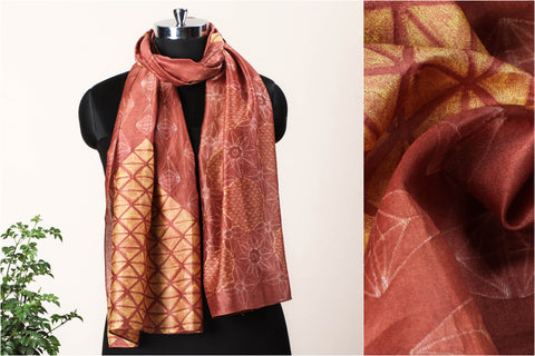 Special Four Leaf Clover Luck Finder Chanderi Silk Stitch Resist Dye Mustard/Rust Stole