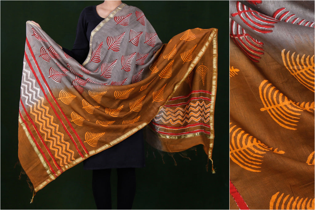 Bagru Hand Block Printed Kantha Work Chanderi Silk Dupatta with Zari Border