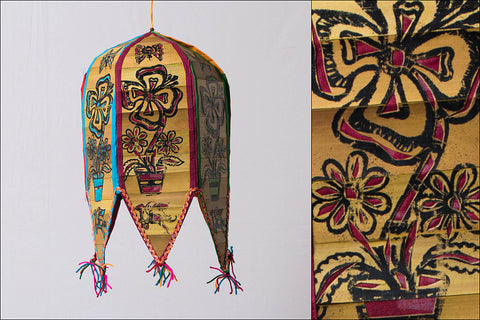 Pattachitra Handpainted Palm Leaf Lampshade from Odisha