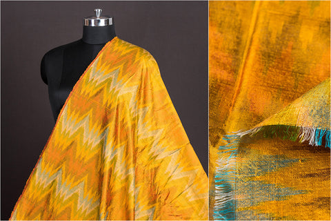 Raw Silk Pochampally Double Ikat Pure Handwoven Fabric