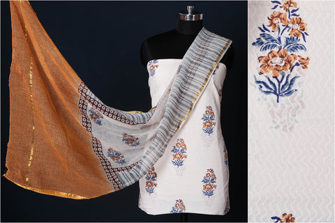Sanganeri Hand Block Printed Cotton 3pc Suit Material Set with Kota Doria Dupatta