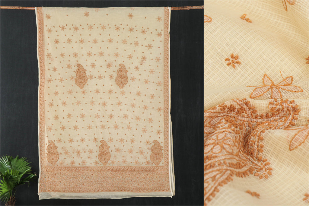 Chikankari Hand Embroidered Kota Doria Saree