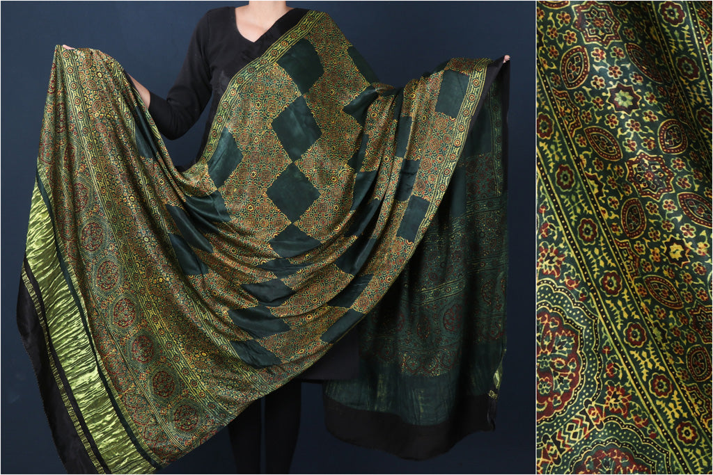 Modal Silk Ajrakh Hand Block Print Natural Dyed Dupatta with Zari Border