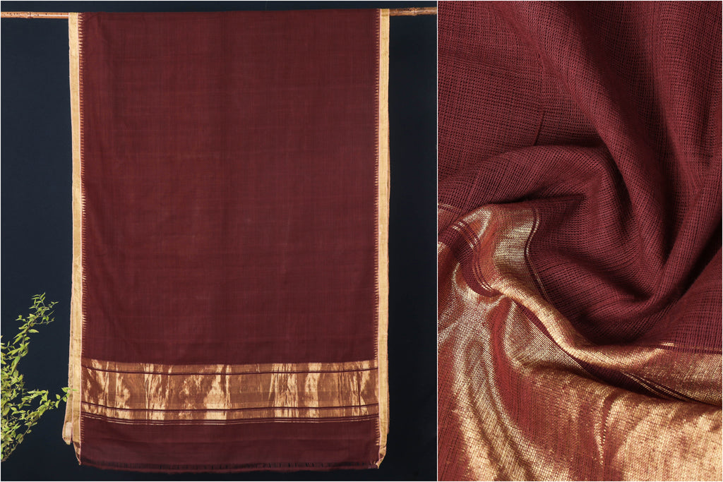 Srikakulam Natural Dyed Handloom Cotton Zari Saree by DAMA