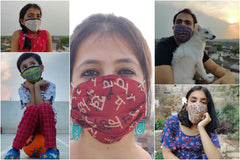 Assorted Set of 10 - Pleated Jacquard Cotton Fabric Face Masks