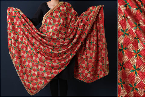 Traditional Phulkari Heavy Embroidered Jaal Silk Cotton Dupatta