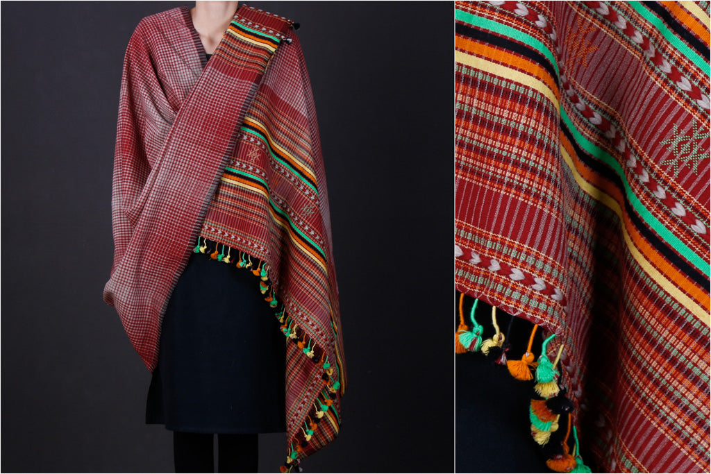 Kutchi Handwoven Bharwadi Checks Pure Wool Embroidered Shawl