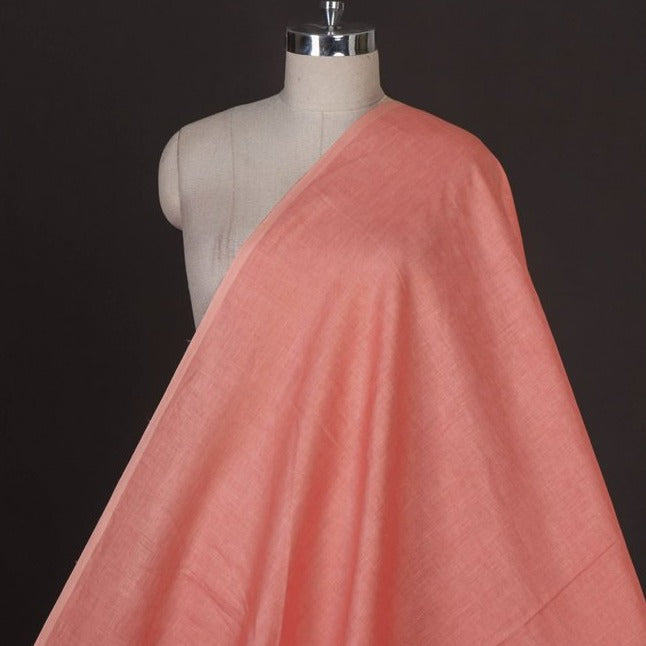 Salmon Red - Handwoven Pure Linen Fabric from Bhagalpur