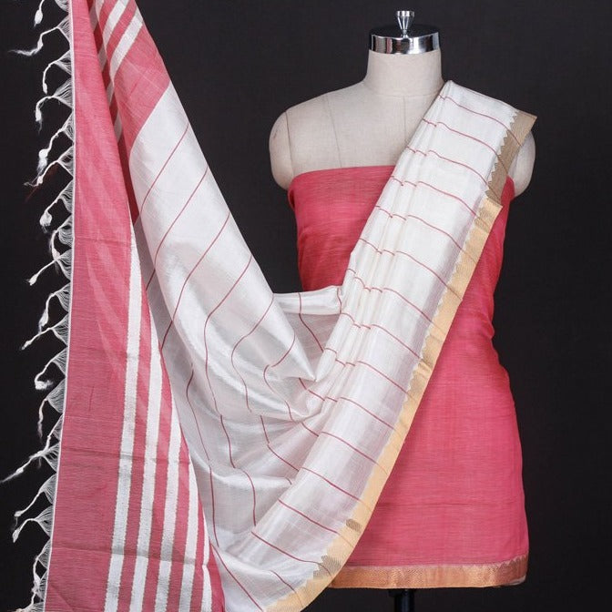 Buy Original Mangalgiri Handloom Silk Cotton 3pc Suit Material Online At Itokri Com Itokri आई ट कर