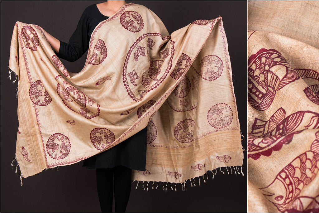 Traditional Madhubani Handpainted Pure Tussar Silk Handloom Full Work Beige/ Mehroon Dupatta