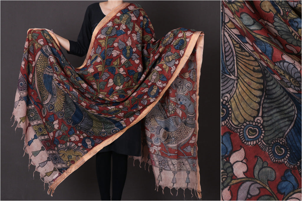 Pen Work Handpainted Srikalahasti Kalamkari Chanderi Silk Dupatta with Zari Border