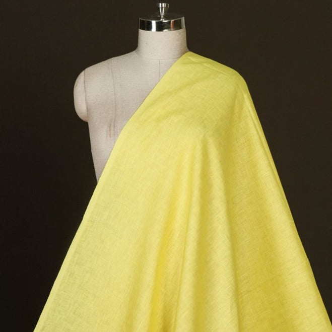 Yellow - Handwoven Pure Linen Fabric from Bhagalpur
