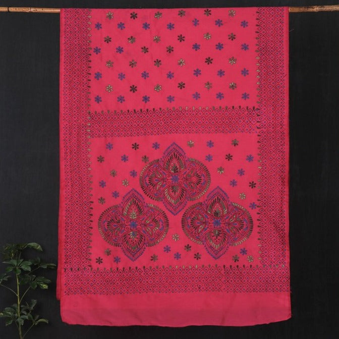 Handloom Kantha Work Silk Cotton Saree from Nadia