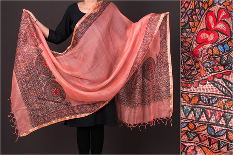 Traditional Madhubani Handpainted Pure Kota Doria Silk Handloom Full Work Orange/ Multicolor Dupatta