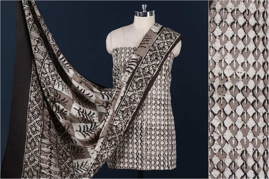 Traditional Pipad Block Print Natural Dyed Cotton 3pc Suit Material Set