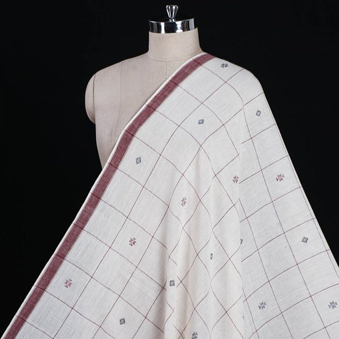 Organic Kala Cotton Pure Handloom White Checks Buti Fabric