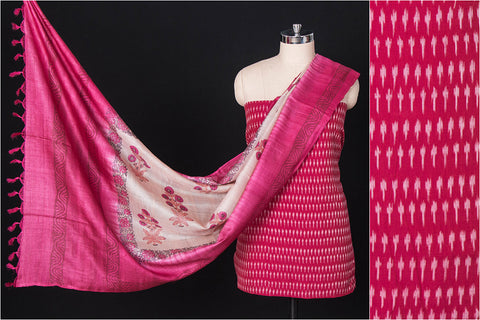 2pc Handloom Ikat Mercerised Cotton Suit Material with Tussar Silk Dupatta