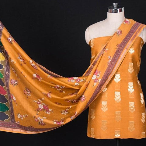 3pc Handloom Silk Cotton Zari Buti Suit Material Set with Floral Print Silk Cotton Dupatta