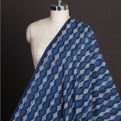 Indigo Dabu Hand Block Printed Pure Cotton Natural Dyed Fabric