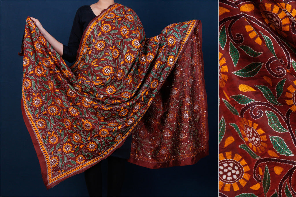 Bengal Kantha Embroidered Silk Handloom Dupatta