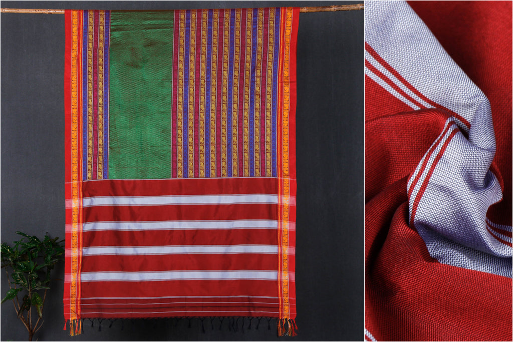 Ilkal Khun Silk Cotton Saree with Resham Border