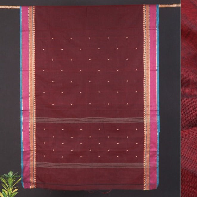 Traditional Chettinad Kandangi Pure Cotton Buti Saree from Tamil Nadu