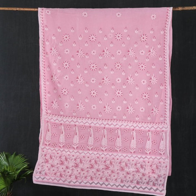 Terivoile Chikankari Hand Embroidered Cotton Saree