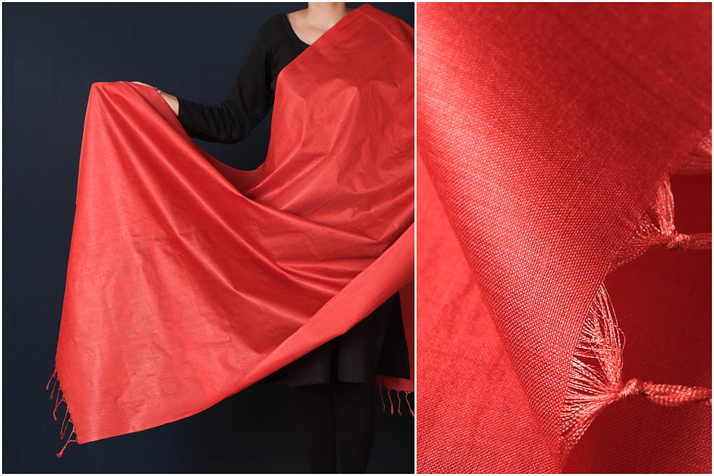 Red - Vidarbha Tussar Cotton Handloom Dupatta