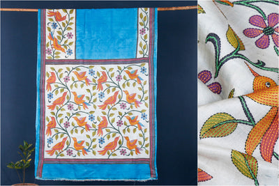 Authentic Bengal Kantha Embroidered Hand Print Pure Tussar Silk Saree