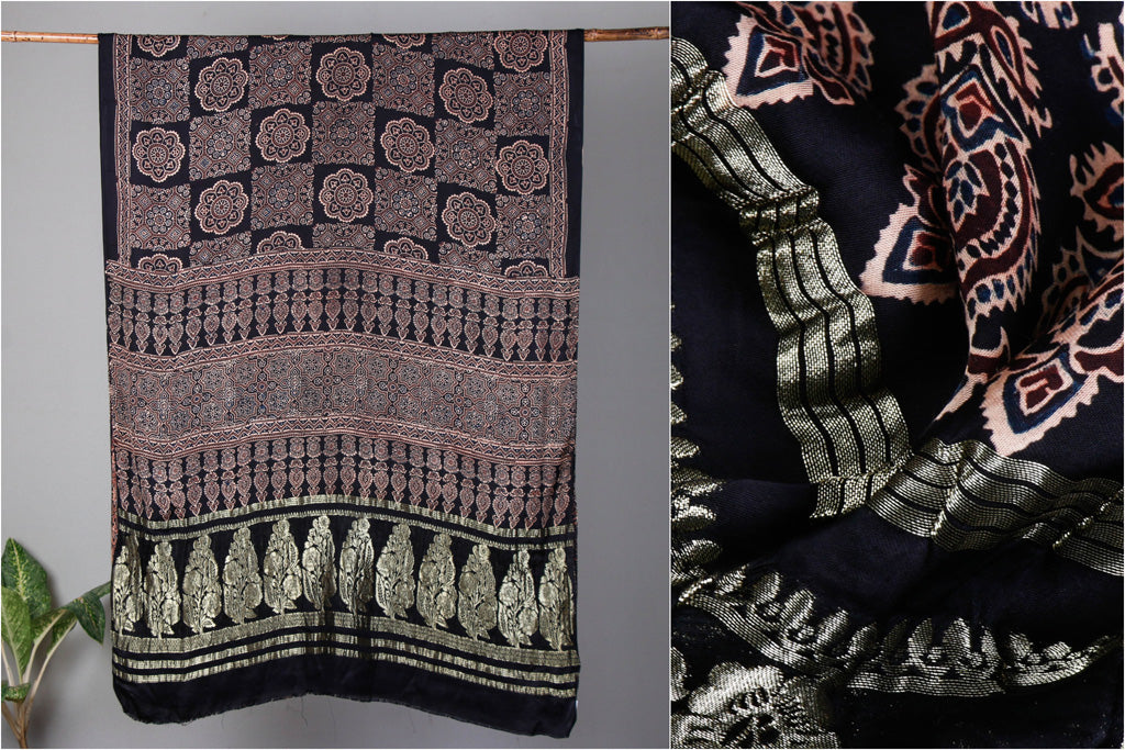 Pure Modal Silk Ajrakh Hand Block Print Saree with Zari Border