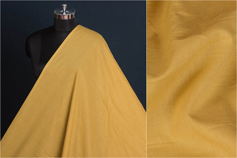 Gold - Pre Washed Plain Pure Cotton Fabric (Width - 44in)