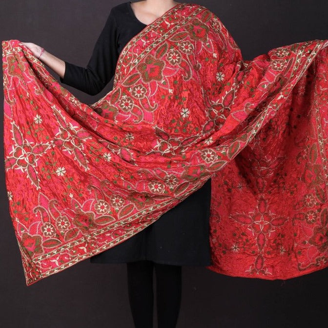 Traditional Phulkari Heavy Embroidered Jaal Chinon Dupatta with Zari