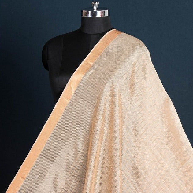 Original Mangalgiri Handloom Silk Cotton Checks Fabric with Golden Zari Border