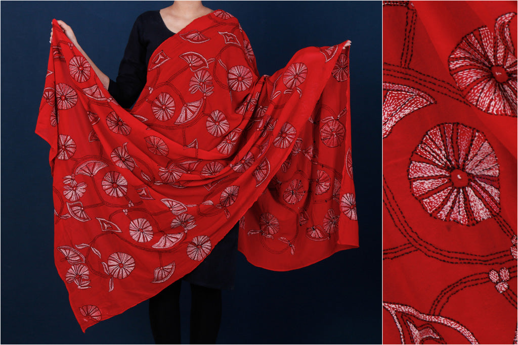 Bengal Kantha Embroidered Pure Crepe Silk Handloom Dupatta