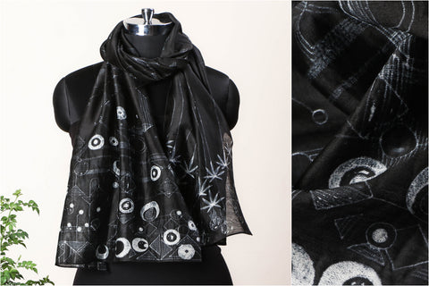 Special Cannabis Evolution Cycle Chanderi Silk Stitch Resist Dye White/Black Stole