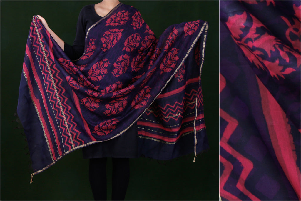 Sanganeri Block Printed Chanderi Silk Dupatta with Zari Border