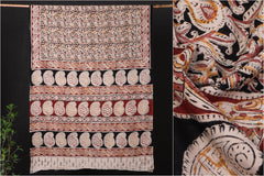 Kalamkari Hand Block Printed Natural Dyed Pure Cotton Saree with Blouse