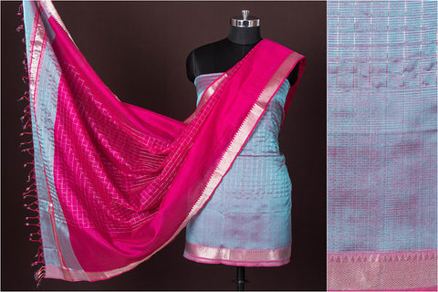 Original Mangalgiri Handloom Silk Cotton Silver Zari Checks 3pc Suit Material