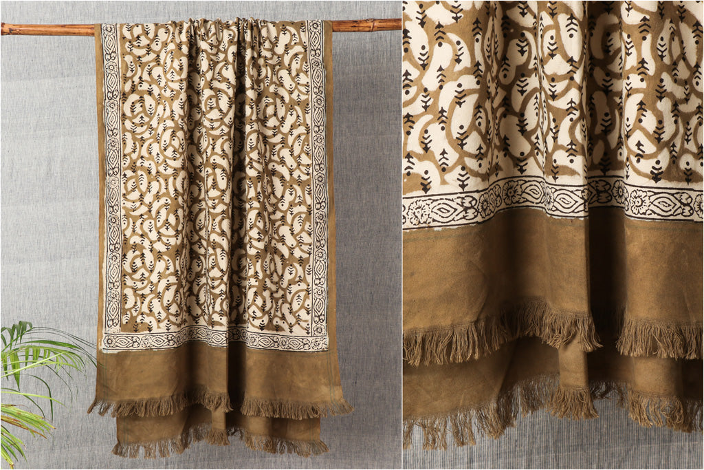 Traditional Pipad Block Print Pure Handloom Cotton Natural Dyed Towel