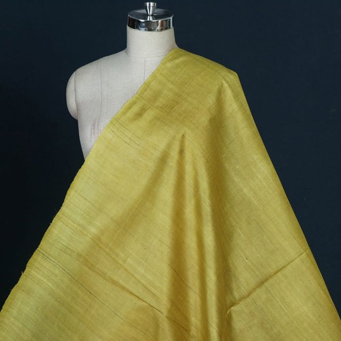 Lemon Yellow - Handwoven Pure Desi Tussar Silk Fabric from Bhagalpur