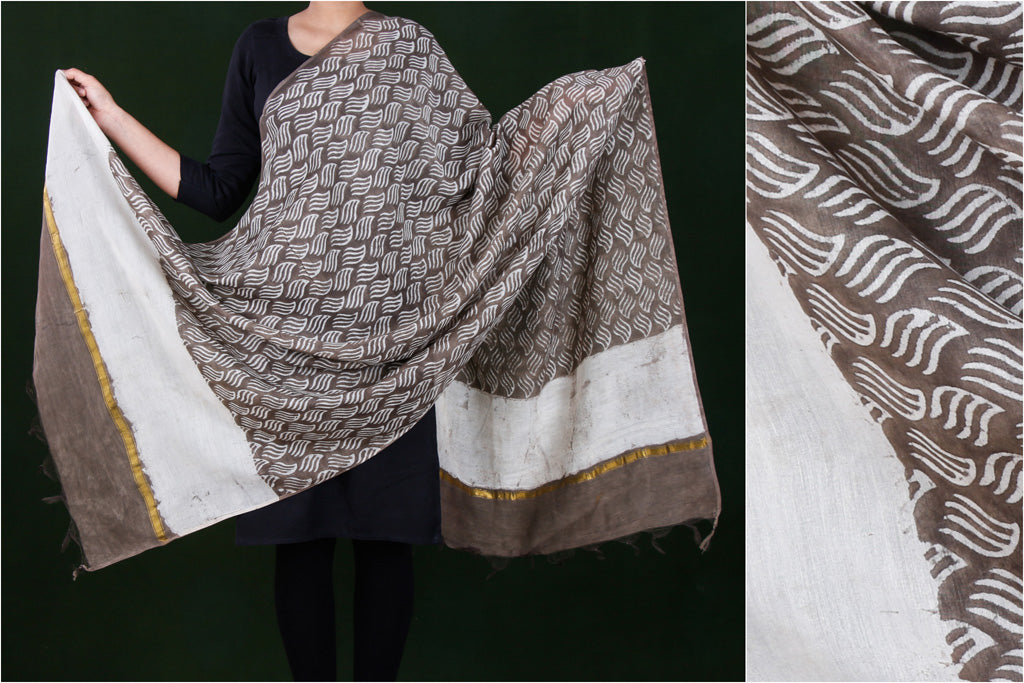 Bagru Hand Block Printed Chanderi Silk Dupatta with Zari Border