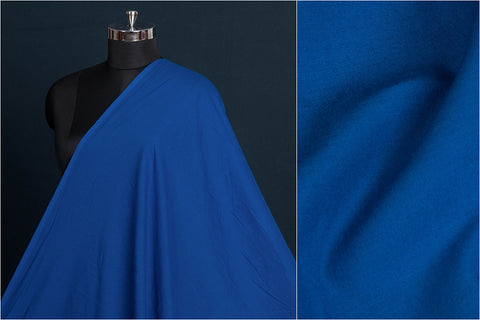 Cobalt Blue - Pre Washed Plain Pure Cotton Fabric (Width - 44in)